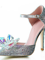 cheap -Women's Shoes Glitter Synthetic Spring Summer Stiletto Heel Crystal Sequin Sparkling Glitter for Wedding Party & Evening Dress Silver