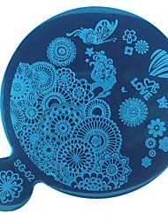 1pc diy arte azul prego filme o modelo de impressão em espelho
