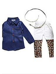 cheap -Girls' Clothing Set, Cotton Winter Spring Fall Long Sleeves Animal Print Blue