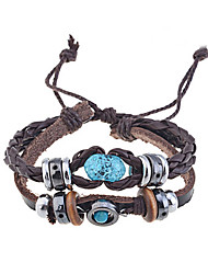 cheap -Lureme®Handmade Vintage Multi Strand Blue Amber Bead Charm Leather Wrap Bracelet Jewelry Christmas Gifts