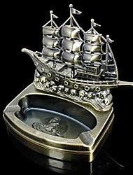Metal Sailing Boat Model Cigarette Lighter and Ashtray 2 in 1 Retro Decor Craft Decorations