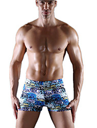 cheap -Men's Stretchy Letter & Number Boxers Underwear Medium, Polyester Spandex 1pc Blue