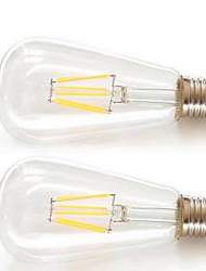6w e26 / e27 conduit filament ampoules st64 6pcs filament cob cob 600lm blanc chaud 2200k décoratif ac 85-265v