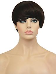 billige -Syntetiske parykker Dame Lige Pixie frisure Syntetisk hår Afro-amerikansk paryk Paryk Kort Lågløs