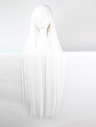Anime Cosplay Wigs White 100 CM Long Straight Hair High Temperature Wire