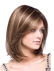 Bob Short Straight Wave Synthetic Hair Wig Brown Blonde Side Bang Heat Resistant
