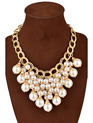 cheap -Women's Pearl Statement Necklace - Tassel Statement White Necklace For Party