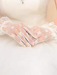 preiswerte -Nylon Handgelenk-Länge Handschuh Brauthandschuhe Party / Abendhandschuhe