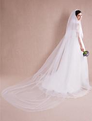 economico -2 strati Bordo tagliato Veli da sposa Velo lungo (con strascico) Con Lustrini Con perle 118.11 in (300 centimetri) Tulle