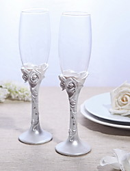 cheap -Lead-free Glass Toasting Flutes 2 Non-personalised Gift Box Wedding Reception