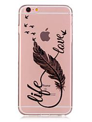 Недорогие -Кейс для Назначение Apple iPhone 6 iPhone 6 Plus Прозрачный С узором Кейс на заднюю панель  Перья Мягкий ТПУ для iPhone 6s Plus iPhone 6s