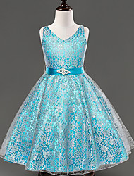 vestito dalla ragazza di fiore della lunghezza del tè a-line - v-collo senza maniche raso di merletto con nastro da ydn