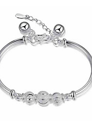 cheap -S925 Pure Stering Silver Smile Beads Bangle Bracelet,Fine Jewelry Christmas Gifts