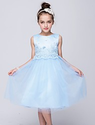 cheap -A-Line Tea Length Flower Girl Dress - Lace / Satin / Tulle Sleeveless Jewel Neck with Bow(s) / Sash / Ribbon by LAN TING Express