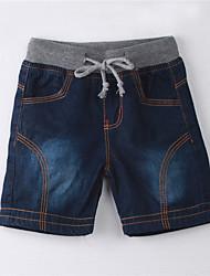 baratos -Para Meninos Jeans Sólido Verão Algodão Roupas de Festa Azul