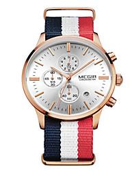 Herren Kleideruhr Quartz Kalender / Armbanduhren für den Alltag / Stopuhr Stoff Band Weiß Marke