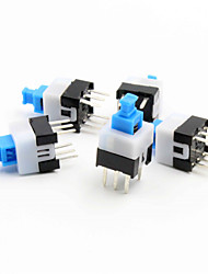 7 x 7mm Self-Locking Switch - Blue + White + Black (5 Piece Pack)