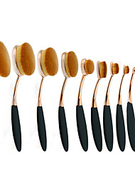 cheap -10Pc/Set Pro Fashion Gold Black Oval Toothbrush Shape Eyebrow Face Foundation Podwer Eyeliner Lip Makeup Brushes Tools