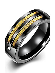 cheap -lureme® Vintage Unisex Black Stainless Steel Screw and 2 Gold Tone Lines Ring
