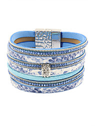 Fashion Women 7 Rows Stone Set Printed Leather Magnet Bracelet