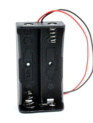 cheap -DIY 2-Slot 18650 Battery Holder Case Box w/ Leads - Black