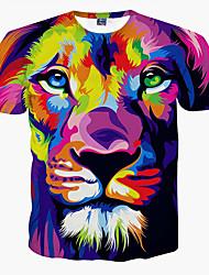 baratos -Homens Tamanhos Grandes Camiseta Estampado, Animal Decote Redondo Leão / Manga Curta