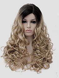 cheap -Top Selling Long Size Multi-color Black Mix Blonde Curly Hair Synthetic Wigs
