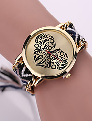 cheap -Women Fabric Weave Band Analog Quartz Heart Case  Wrist Bracelet Watch Jewelry