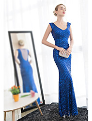 cheap -Mermaid / Trumpet V-neck Ankle Length Satin Tulle Prom Formal Evening Dress with Sequins by Embroidered Bridal