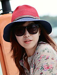 cheap -Retro Bow Color Stitching Leather Buckle Large Brimmed Sun Hat