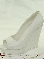 cheap -Women's Shoes Lace Wedge Heel Peep Toe Sandals Wedding / Dress White