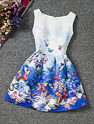 baratos -Menina de Vestido Final de semana Para Noite Verão Algodão Sem Manga Floral Azul