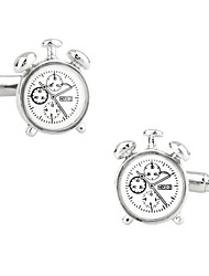 cheap -Men's Fashion Clock Style Silver Alloy French Shirt Cufflinks (1-Pair) Christmas Gifts