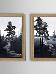 Oil Painting Modern Abstract Scenery Set of 2 Hand Painted Natural linen with Stretched Frame