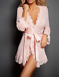 Women's Robes Ultra Sexy Lace Lingerie Nightwear,Sexy Solid-Medium Polyester Mesh
