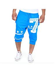 Hombre Activo Tiro Medio Microelástico Corte Ancho Activo Chinos Pantalones de Deporte Pantalones,Un Color Algodón Verano