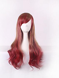 cheap -Costume Wigs / Synthetic Wig Curly / Deep Wave Asymmetrical Haircut Natural Hairline Burgundy Women's Capless Cosplay Wig Long Synthetic