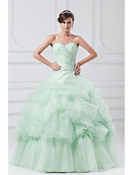 Ball Gown Princess Sweetheart Floor Length Organza Formal Evening Dress with Crystal Detailing Flower(s) Pleats by TS Couture®