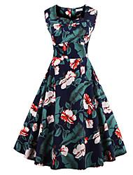abordables -Mujer Tallas Grandes Línea A Vestido - Estampado, Floral Escote Cuadrado