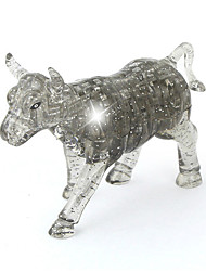ABS 3D DIY OX Crystal Puzzle Animal Educational Toys For Kids Or Adults Clear/Grey