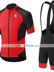 abordables -KEIYUEM Manches Courtes Maillot et Cuissard à Bretelles de Cyclisme - Rouge Vélo Ensemble de Vêtements, Séchage rapide, Respirable,