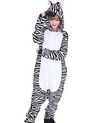 Kigurumi Pyjama Zebra Einteiler Pyjamas Kostüm Flanell Vlies Schwarz-Weiss Cosplay Für Erwachsene Tiernachtwäsche Karikatur Halloween