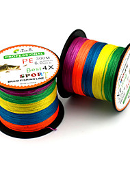 0.8-8.0# Multicolored Braided Fishing Line Dyneema Fishing Line Super-4 Encoding 300M PE Fishing Line