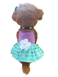 Недорогие -Собака Платья Одежда для собак Сердца Зеленый / Фиолетовый Костюм Для домашних животных