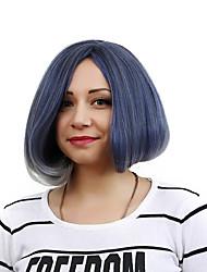 abordables -Pelucas sintéticas Recto / Ondulado Natural Corte Bob Pelo sintético Raya en medio / Entradas Naturales Azul Peluca Mujer Corta Sin Tapa