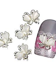 10pcs borboleta com pedra olho 3d liga nail art decoração do gato branco que voam