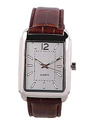 Men's Fashion Watch Casual Watch Quartz PU Band Brown