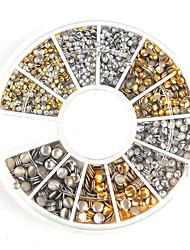 Недорогие -500pcs 1.2mm / 2мм / 3мм мини золото и серебро круглый шпильки горный хрусталь украшения ногтей