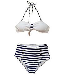Venus queen Women's Fine Stripe Halter Bikini,Retro / High Rise Nylon / Spandex Black / Dark Blue