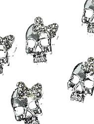 10pcs   Silver Punk Skull With 3D Rhinestone Bow Tie Nail Art Decoration